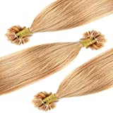 Extensiones de Cabello Natural Queratina Pelo 100% REMY - U/Nail-Tip Hair Extensions-100 mehcas por conjunto(#27 Rubio oscuro 50cm 50g)