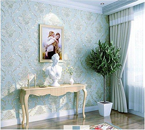 3D Vliestapete Druck Handwerk Tapete Continental Damaskus Wohnzimmer Schlafzimmer Hotel TV Hintergrund kaufen Drei Bekommen Eins (Color : Peacock Blue)