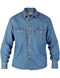 e86747313ce Duke London Mens King Size Denim Shirt Western Denim Stone-WASH Long Sleeve  Shirt S