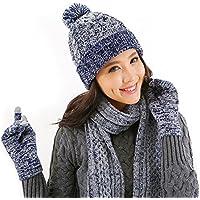 f03810e1b683 FOSTAK Bonnet d hiver Chaud en Tricot et écharpe d hiver en Tricot Bleu