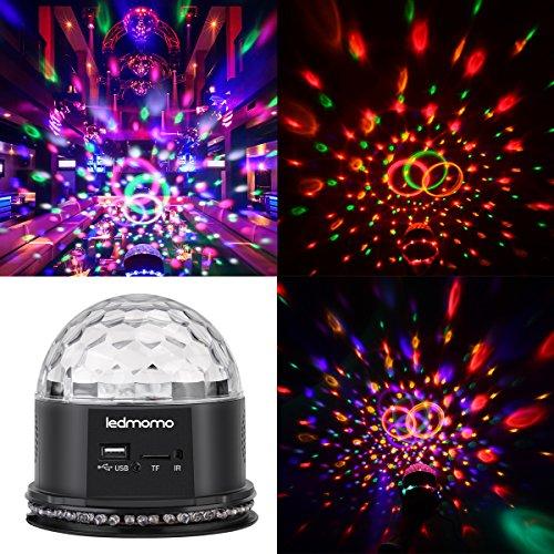 Luci da discoteca,ledmomo luci da palco sfera luci discoteca luci discoteca lampada sfera magica rgb effetto 54leds 6 suono cambia colore con telecomando,disco mp3