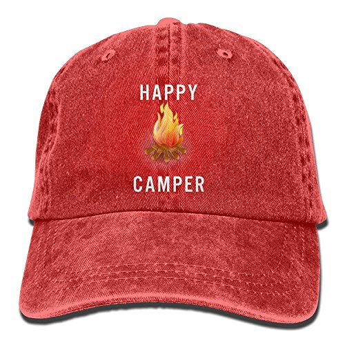 Pillow hats Happy Camper Campfire Vintage Washed Dyed Cotton Twill Low Profile Adjustable Baseball Cap Black Red - Black Washed Twill