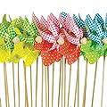 Windspiel - Moulin Set 24Stck. - UV-beständig und wetterfest - Windrad: Ø9cm, Standhöhe: 28cm - fertig aufgebaut mit Standstäben im dekorativen Blumenkasten von Colours in Motion auf Du und dein Garten