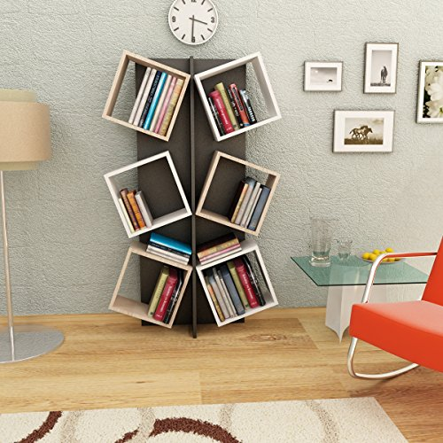 MARCELLA Libreria - Bianco / Nero / Sonoma - Scaffale per libri ...