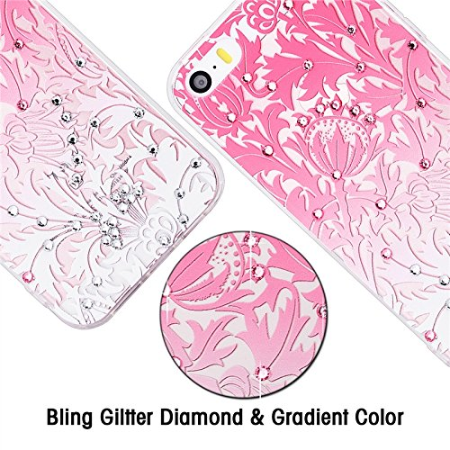 iPhone 5 / 5S / SE Hülle , Yokata 3D Glitzer Diamant PC Hart Case mit Weich Silikon Bumper Gradient Blumen Motif Schale Durchsichtig Case Schutzhülle Cover + 1 * Stylus Pen Rosa