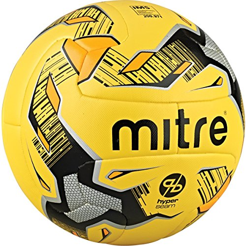 Mitre Ultimatch Hyperseam Match Football – Yellow/Black/Silver, Size 5