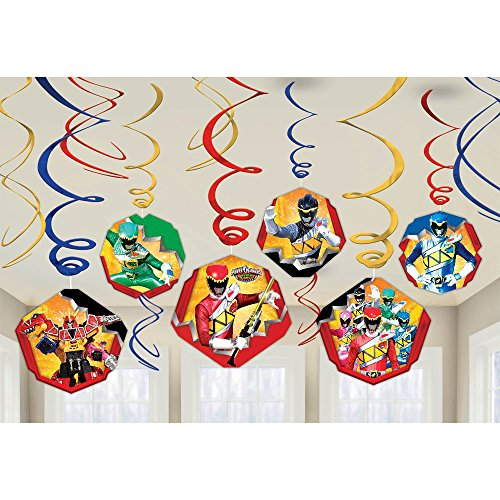 Amscan Power Rangers Dino Belastung Birthday Party Foil Swirl Decorations Value Pack (12 Piece), Multi by Amscan