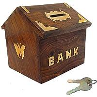 Wooden Handicrafts Wooden Handicrafts Hut Shaped Wooden Money Box with Lock Piggy Bank Coin Box Children Gifts