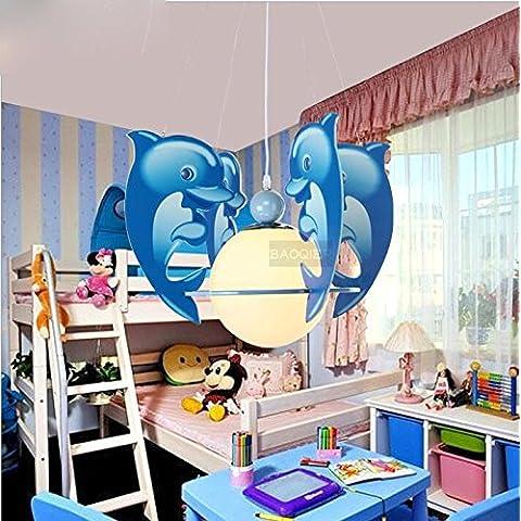 Blue Dolphin pequeño moderno techo de madera ilumina el LED Lámpara de techo colgante Iluminación luces de sala infantil 110V-240V