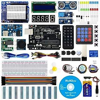 RuiiGuu Arduino UNO R3 Starter Kit for Arduino w/UNO R3 Development Board, Detailed Tutorial, LCD1602, Membrane Switch, Servo, Stepper Motor, DHT11, IR Receiver