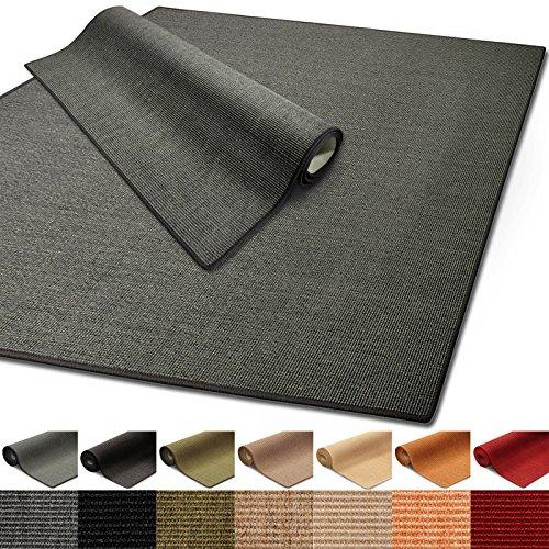 100% reines Sisal | Sisalteppich in verschiedenen Farben und vielen Größen (Grau, 66 x 130 cm)