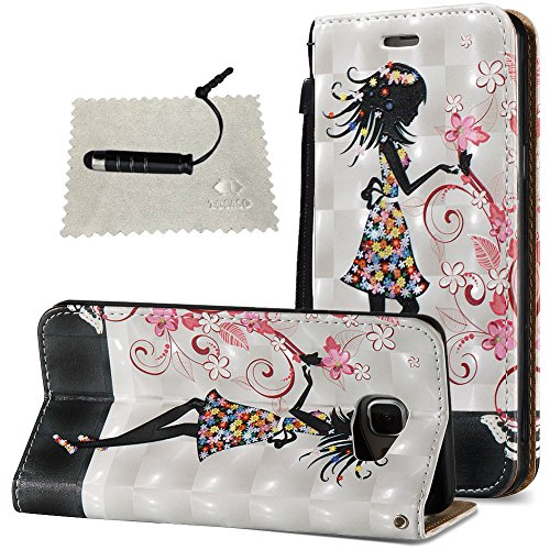 Tasche Luxus Hülle für Samsung Galaxy A5 (2016) A510 Leder Hülle,Handytasche SchutzHülle Brieftasche Wallet Flip für Samsung Galaxy A5 (2016) A510, TOCASO Leder Case Cover Glitter Strass Bling Leder T Hübsches Mädchen