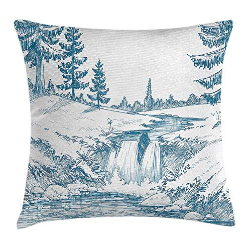GONIESA Rustic Throw Pillow Cushion Cover, Rural Woodland and Waterfall with Pencil Drawing Effect Graphic Scenic Art Print, Decorative Square Accent Pillow Case, 18 X 18 inches, Blue White - Eye Pencil Plum