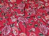 Minerva Crafts Floral Print Strukturierte Stretch Jersey Knit Kleid Stoff pink–Meterware
