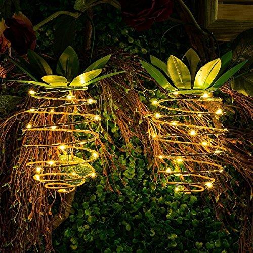 2PCs / Set Bewegliche Verschobene Wasserdichte Dekorative Laternewandlampe Der Solarananas LED Im Freien