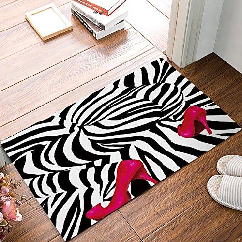 Vercxy Fußabtreter Teppich mit Boden für Küche, Badezimmer, Tür-Matte, Rutschfest, mit Pink, mit Zebra, hohe Schuhe mit Stollen x15.7 -