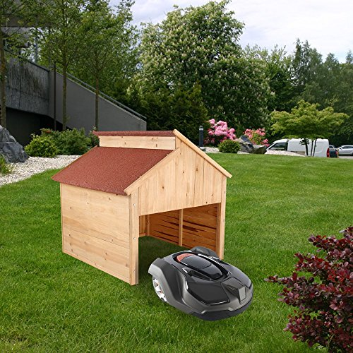 ZELSIUS Holzgarage für Rasenmäher Roboter, Mähroboter Garage, Carport, rot - 5