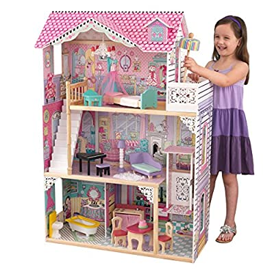 KidKraft 65079 Annabelle Wooden Dolls House with furniture and accessories included, 3 storey play set for 30 cm / 12 inch dolls