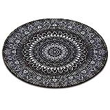 LB [Material Runder Teppich aus Mandala,Spielmatte für Kinder Rutschfest Waschbare weiche Teppichbodenmatte für Kindergarten Wohnzimmer Schlafzimmer Küche,80x80cm
