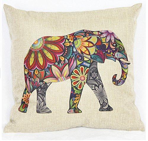 Ecloud Shop Lindo Cubre Cojines elefante Lino Funda de almohada decorativa