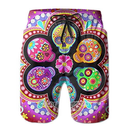 Comfort&products New Dead Sugar Skull Flowers Men's Beach Pants,Shorts Beach Shorts Swim Trunks -