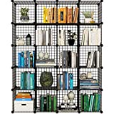 Koossy Metallregal Stufenregal Regalschrank Steckregal Bücherregal 20 Fächer für Arbeitszimmer und Kinderzimmer, 148 x 37 x 185 cm Schwarz
