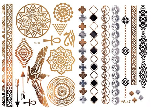 Goldtattoo Temporary Tattoo Hauttattoo YS-47+48 Modeschmuck FLASHTATTOOS GOLD auch Karneval / Fasching