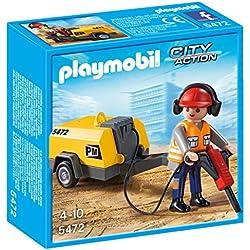 Playmobil Construcción - Obrero con martillo eléctrico (5472)