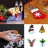 YiRAN Decoraciones navideñas, Tarjetas de Vidrio + vajilla + Copos de Nieve, Crean un Ambiente Especial para familias, restaurantes y Fiestas temáticas, Xmas Cheer