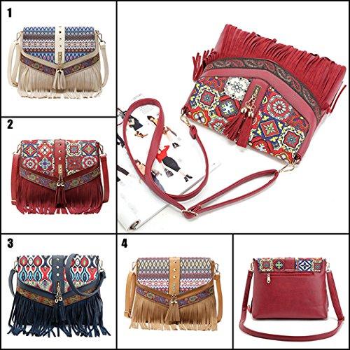 Borsa Crossbody, Fanspack Sacchetto di Spalla Casual Daypack Sacchetto del Messaggero Della Nappa Dell'annata per le Donne Blue