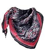 Avenella Hochwertiges SEIDENTUCH in elegantem Design, Hauptfarben: Schwarz Anthrazit Rot, Satin Tuch aus 100% Seide, 86x86 cm, Handrolliert