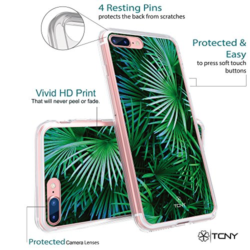 iPhone 6s Tropical Case - True Color Clear-Shield Tropical Watercolor Flowers Printed on Clear Back - Perfect Soft and Hard Thin Shock Absorbing Dustproof Full Protection Bumper Cover Tropical Palm Leaves