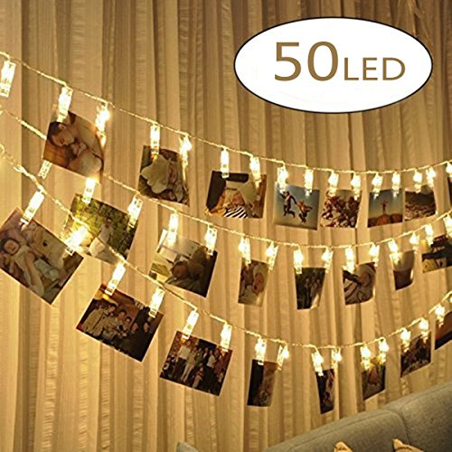 ChuYa LED Foto Clip Lichterkette, 50 Photo Clips Batteriebetriebene Stimmungsbeleuchtung Dekoration für Hängendes Foto Memos Kunstwerke [Energieklasse A+] (Innen 3 Glas Mit Türen)