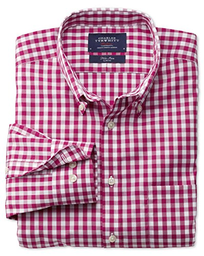 Bügelfreies Slim Fit Hemd aus Popeline in rot mit Karos rot (Knopfmanschetten Cuff)