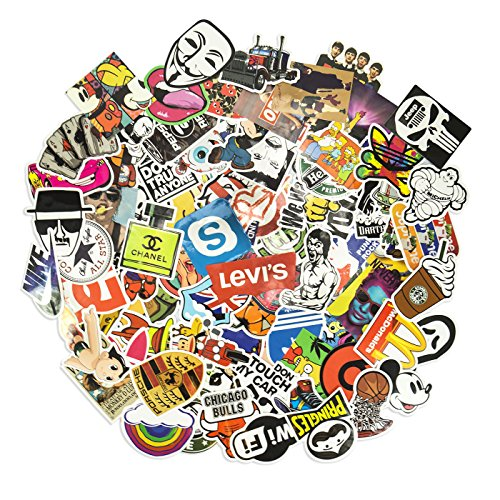 100 Aufkleber / Sticker - Retro-, Graffiti- Style, Reisen, Marken für Skateboard, Snowboard, Koffer, Notebook, Auto, Fahrrad & uvm. - Auto-Dress® (Set-7) - Ein Man Ein Youtube-wie