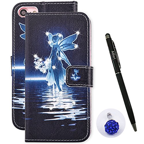 iPhone 8 Plus / 7 Plus Schutzhülle Leder Hülle, Alfort 3 in 1 Bling Glitzer Glitter Prägung Flip Wallet Fashion Design Dual Use Falten Premium PU Leder Tasche Case Cover Folio Mappen Kasten Abdeckung  Elf See