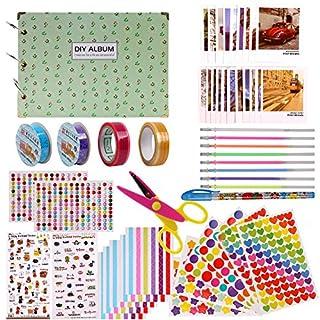 Scrapbook Kit, selbstklebend DIY Fotoalbum Scrapbook Zubehör Kit, Creative Baby Valentine Geburtstag Weihnachten Hochzeitstag Album Speicher Buch, 30 Blatt, Green
