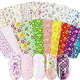 Kalolary 50 colori Nail Foil Transfer Stickers, Fiori Cielo stellato Adesivi Unghie Trasferimento Adesivo Decalcomanie Holographic Nail Stickers Decorazione Fai da Te Attrezzatura Arte Unghie