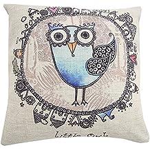"MOEKI Cotton Linen cuadrado manta decorativa Funda de almohada Funda de cojín Retro Cartoon Seashell 18"""