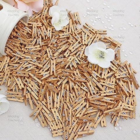 25mm Mini Oro Madera Pinzas para la ropa craft para decoración álbum de recortes Vintage, bodas y