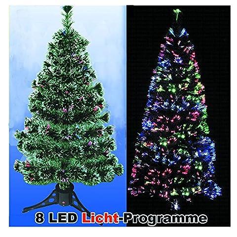 CRAVOG LED Weihnachtsbaum 120 cm Tannenbaum farbwechselnde Glasfaser Fiberoptik xmas