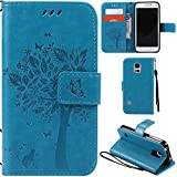 Ooboom® Samsung Galaxy S5 Mini Case Cat Tree Pattern PU Leather Flip Cover Wallet Stand with Card/Cash Slots Packet Wrist Strap Magnetic Clasp for Samsung Galaxy S5 Mini - Blue