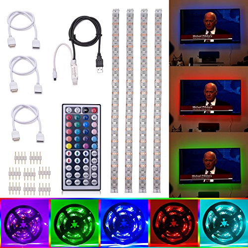 ALight House TV Backlight LED Light Strip Kit 4x1.64feet Strips Multi Color RGB Home Theater Bias Mood Lighting with 44key Remote Control for TV Desk Wall Back Light (white)