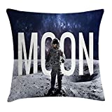 Outer Space Decor Throw Pillow Cushion Cover, Miniature Toy Astronaut on Foreground of Giant Moon Big Bang Mars Print, Decorative Square Accent Pillow Case, 24 X 24 inches, Grey Blue
