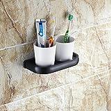 Beelee BA7408B Badezimmer-Toilette Doppel-Glas-Zahnputzbecher mit Halter Wandhalterung, Öl gerieben Bronze