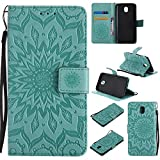 For Samsung Galaxy J5 2017 / SM-J530 Case [Green],Cozy Hut [Wallet Case] Magnetic Flip Book Style Cover Case ,High Quality Classic New design Sunflower Pattern Design Premium PU Leather Folding Wallet Case With [Lanyard Strap] and [Credit Card Slots] Stand Function Folio Protective Holder Perfect Fit For Samsung Galaxy J5 2017 / SM-J530 5,2 inch - green
