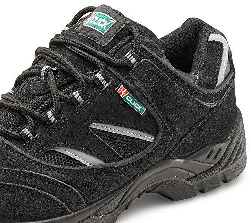 B-Click Footwear, Scarpe antinfortunistiche uomo Nero nero (Dark Grey with reflective yellow stripes)