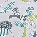 Dekostoff Gardinenstoff Leinenoptik Blätter weiß grau