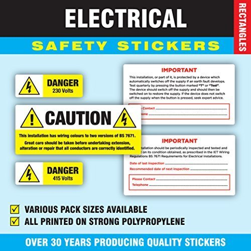 Awesome Mixed Pack Of 120 Electrical Safety Stickers Labels 24 Of Each Wiring Digital Resources Inamasemecshebarightsorg