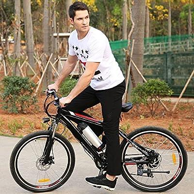 Minilism Elektrofahrrad mit 26 Zoll Mountainbike, 25-35km/h Pedelec E-Bike Lithium-Akku mit 21 Gang Getriebe Schwarz